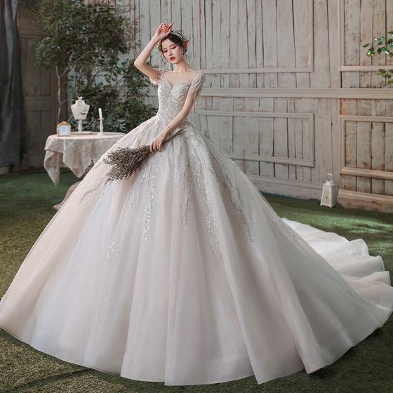 Romantic Champagne See-through Bridal Wedding Dresses 2020 Ball Gown Scoop Neck Short Sleeve Backless Sequins Beading Glitter Tulle Cathedral Train Ruffle