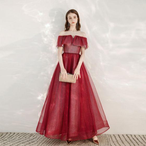 Scintillantes Bordeaux Glitter Robe De Soirée 2020 Princesse De l'épaule Manches Courtes Dos Nu Longue Robe De Ceremonie