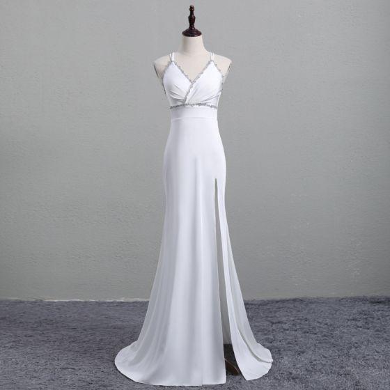 Chic / Beautiful White Evening Dresses  2019 Trumpet / Mermaid Spaghetti Straps Rhinestone Sleeveless Backless Split Front Sweep Train Formal Dresses