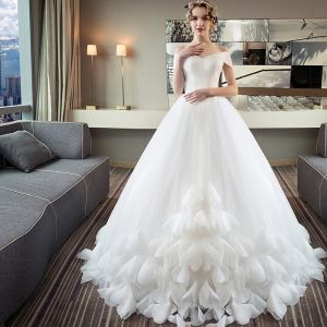 Chic / Beautiful Ivory Wedding Dresses 2018 Ball Gown Off-The-Shoulder Short Sleeve Backless Appliques Flower Ruffle Royal Train