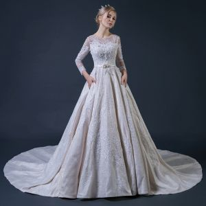 Luxury / Gorgeous Champagne Pierced Wedding Dresses 2018 A-Line / Princess Scoop Neck Long Sleeve Backless Beading Appliques Lace Bow Sash Ruffle Cathedral Train