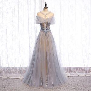 Charmant Gris Robe De Bal 2020 Princesse Encolure Dégagée Perlage Appliques En Dentelle Fleur Faux Diamant Paillettes Manches Courtes Dos Nu Longue Robe De Ceremonie