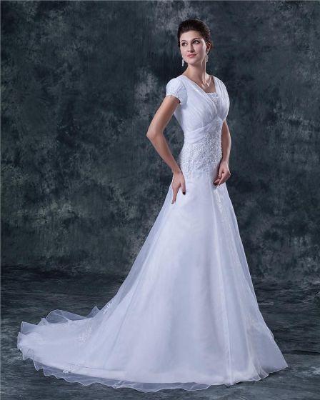 Perlen Applikationen Satin Trägern Kapelle A-linie Brautkleider Hochzeitskleid