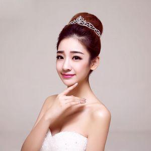 Mode Grote Deeltjes Stralende Diamanten Bruiloft Tiara Kroon Bruids Haaraccessoires