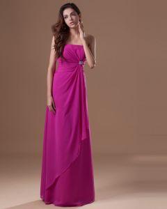Chiffon Beading Ruffle Strapless Floor Length Bridesmaid Dress