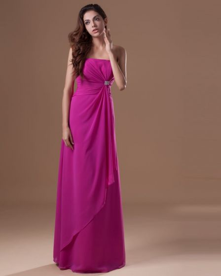 Chiffon Beading Ruffle Strapless Floor Length Bridesmaid Dress