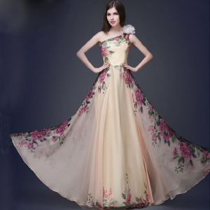 Chic / Beautiful Beige Chiffon Maxi Dresses 2018 A-Line / Princess Artificial Flowers One-Shoulder Sleeveless Printing Flower Floor-Length / Long Ruffle Backless Womens Clothing