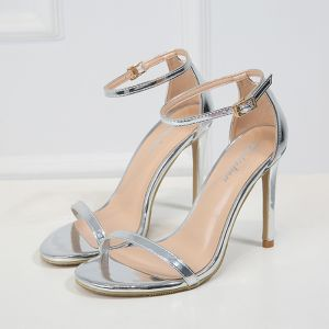 Modern / Fashion Silver Casual Womens Sandals 2019 Leather Ankle Strap 10 cm Stiletto Heels Open / Peep Toe Sandals