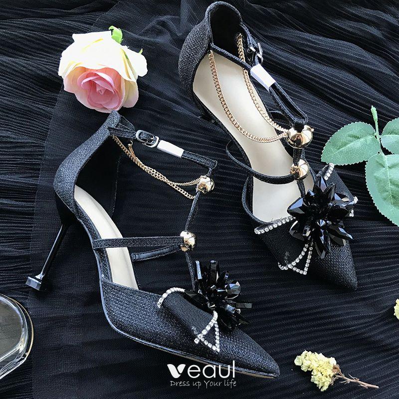 Charming Champagne Wedding Bridesmaid High Heels 2019 Rhinestone Bow T-Strap 8 cm Stiletto Heels Pointed Toe Wedding Shoes