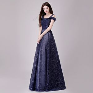 Chic / Beautiful Navy Blue Evening Dresses  2018 A-Line / Princess Glitter Sequins Lace Shoulders Backless Sleeveless Floor-Length / Long Formal Dresses