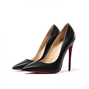 Chic / Beautiful Black Evening Party Pumps 2019 Leather 12 cm Stiletto Heels Pointed Toe Pumps