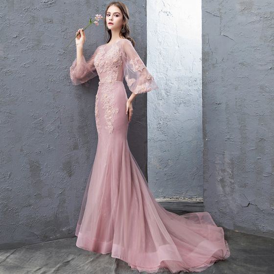 Modern / Fashion Candy Pink Evening Dresses  2018 Trumpet / Mermaid Lace Flower Appliques Beading Pearl Sequins Scoop Neck Backless 3/4 Sleeve Sweep Train Formal Dresses