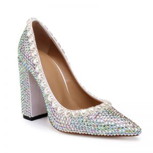 Charmant Multi-Couleurs Faux Diamant Chaussure De Mariée 2020 Cuir 10 cm Talons Épais À Bout Pointu Mariage Escarpins