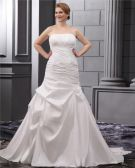 Taffeta Ruffle Court Plus Size Bridal Gown Wedding Dress