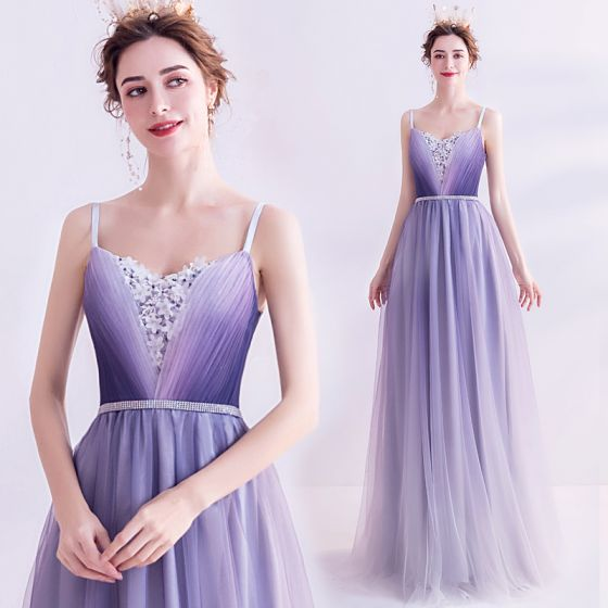 Charming Purple Evening Dresses  2020 A-Line / Princess Spaghetti Straps Beading Rhinestone Appliques Lace Flower Sleeveless Backless Floor-Length / Long Formal Dresses