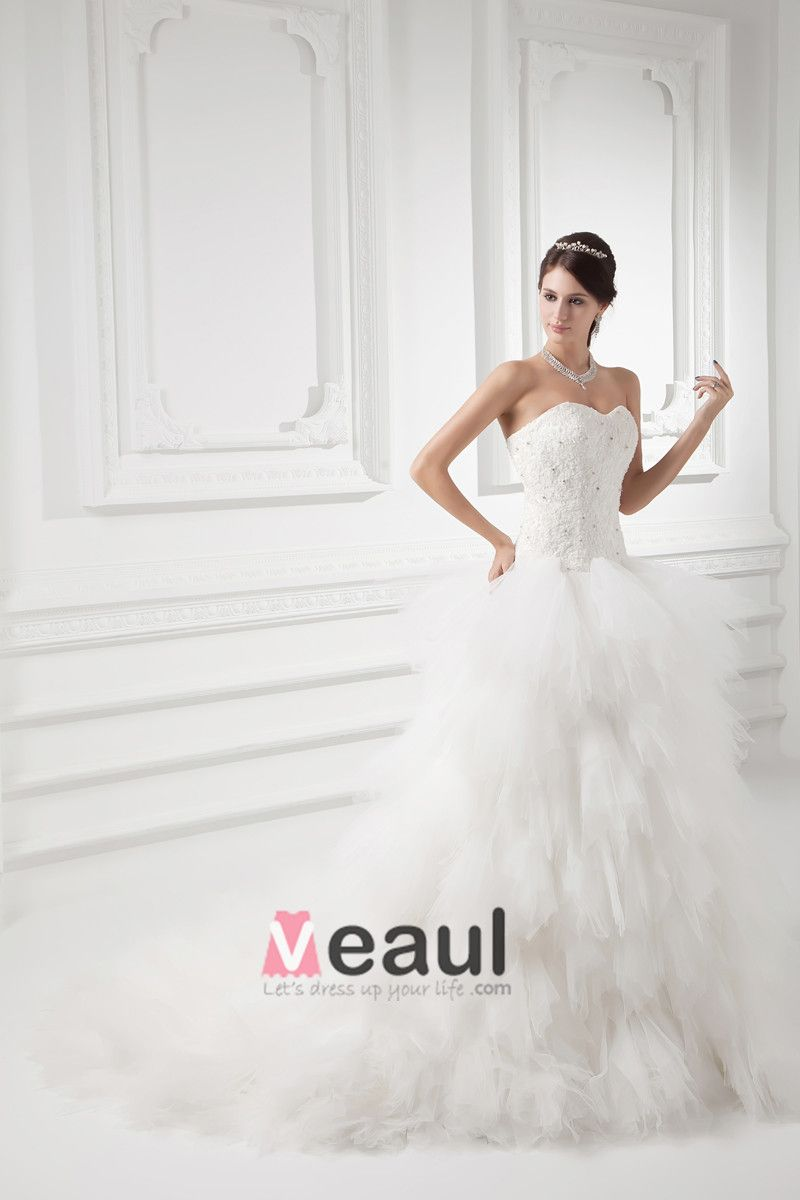 Tulle Applique Beading Sweetheart Court Train Tiered Ball Gown Wedding Dress