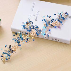Schöne Königliches Blau Brautschmuck 2017 Metall Schmetterling Perlenstickerei Strass Kopfschmuck Hochzeit Ball Brautaccessoires