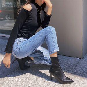 Mode Strassenmode Schwarz Ankle Boots Stiefel Damen 2020 9 cm Stilettos Spitzschuh Stiefel