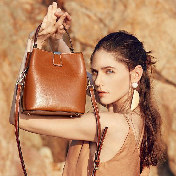 Schlicht Tan Quadratische Handtasche Umhängetasche Schultertaschen 2021 Leder Freizeit Damentaschen