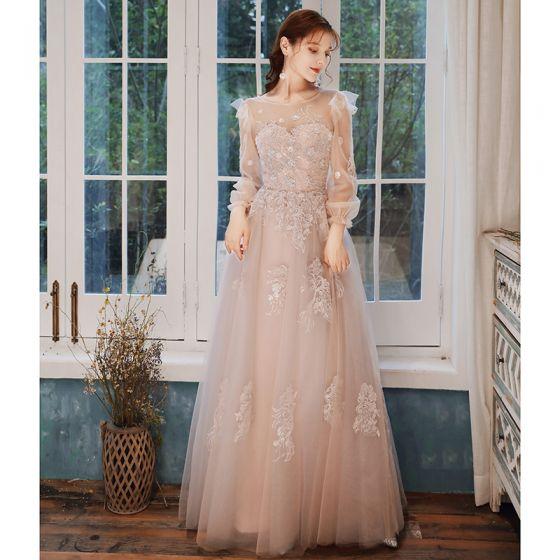 Elegant Pearl Pink Evening Dresses  2020 A-Line / Princess Scoop Neck Beading Sequins Lace Flower Long Sleeve Backless Floor-Length / Long Formal Dresses