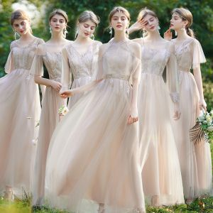Affordable Champagne Bridesmaid Dresses 2020 A-Line / Princess Backless Appliques Lace Floor-Length / Long
