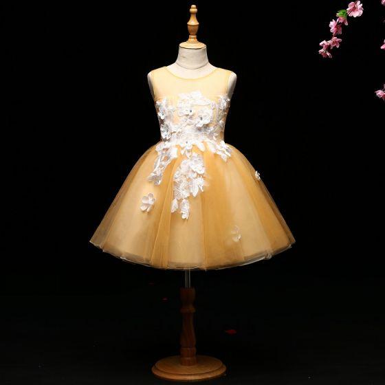 Mooie / Prachtige Gele Bloemenmeisjes Jurken 2017 Baljurk Appliques Ronde Hals Ruglooze Mouwloos Korte Jurken Voor Bruiloft