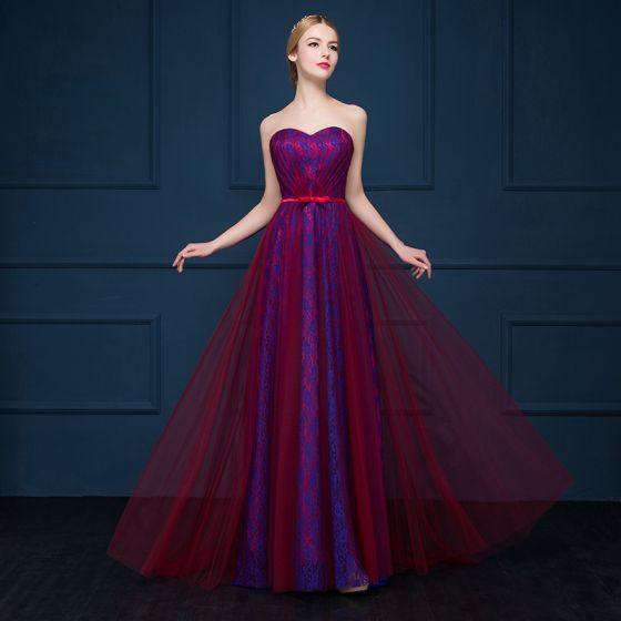 Fine Rød Selskapskjoler 2017 Tyll Prinsesse Strapless Ryggløse Printing Aften Formelle Kjoler