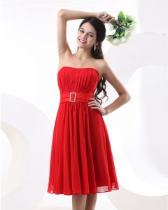 A-line Strapless Knee-Length Satin Chiffon Bridesmaid Dress
