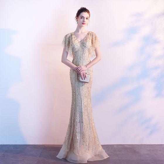 Luxury / Gorgeous Gold Evening Dresses  2020 Trumpet / Mermaid V-Neck Handmade  Beading Crystal Sequins Short Sleeve Backless Sweep Train Formal Dresses