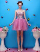 Belles Perles Chérie Fleur Strass Organza Mini-courte Robe De Cocktail