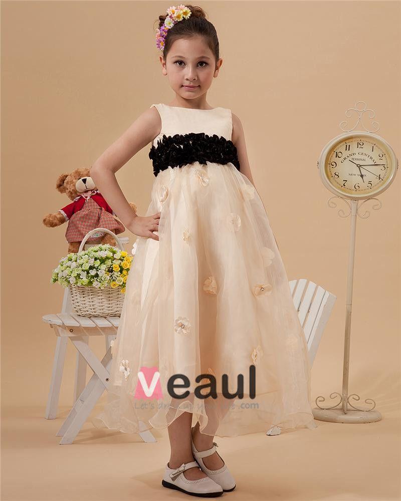 Fashion Jewel Tea-Length Organza Satin Flower Girl's Dress