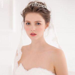 Handgemaakte Diamanten Parel Bruids Kroon Tiara Met Sieraden