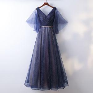 Schöne Marineblau Abendkleider 2017 A Linie Spitze Geflecktes Stoffgürtel Rückenfreies V-Ausschnitt Knöchellänge Festliche Kleider