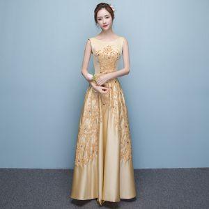 Schöne Gold Abendkleider 2017 A Linie U-Ausschnitt Charmeuse Strass Applikationen Rückenfreies Handgefertigt Abend Partykleider