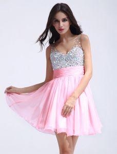 Glitter Axlar Sweetheart Sleeveless Paljetter Kristall Kort Chiffon Cocktailklänning Balklänningar