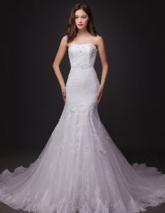 2015 Mermaid Strapless Chapel Train Lace Wedding Dresses