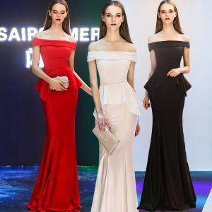 Eleganckie Sukienki Wieczorowe 2019 Syrena / Rozkloszowane Przy Ramieniu Kótkie Rękawy Długie Wzburzyć Bez Pleców Sukienki Wizytowe