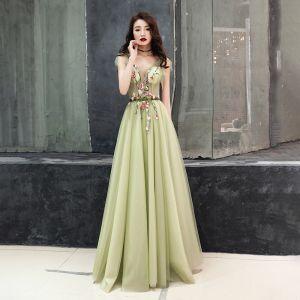 Illusion Vert Cendré Transparentes Robe De Soirée 2019 Princesse V-Cou Sans Manches Appliques Fleur Noeud Ceinture Longue Volants Dos Nu Robe De Ceremonie