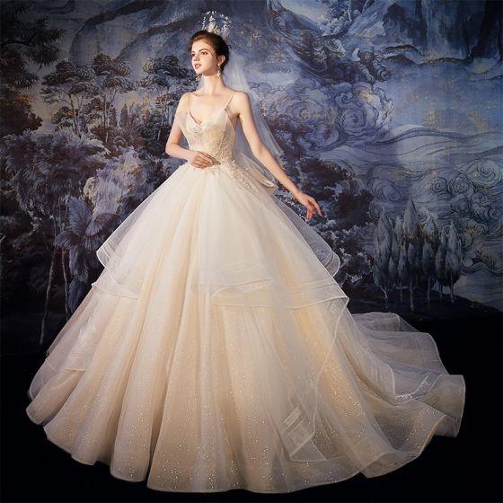 Best Champagne Outdoor / Garden Wedding Dresses 2020 Ball Gown Spaghetti Straps Sleeveless Backless Glitter Tulle Beading Sweep Train Ruffle
