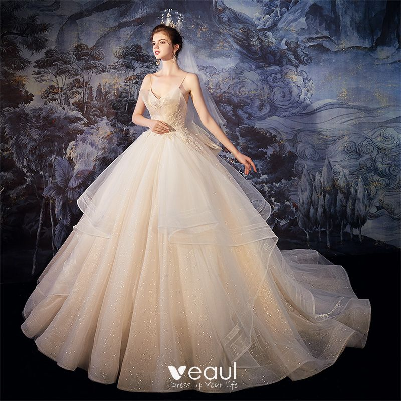 Best Champagne Outdoor Garden Wedding Dresses 2020 Ball Gown Spaghetti Straps Sleeveless Backless Glitter Tulle Beading Sweep Train Ruffle