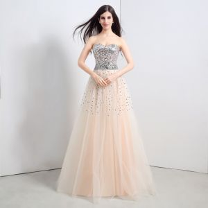 Sparkly Champagne Prom Dresses 2018 A-Line / Princess Beading Sequins Crystal Sweetheart Backless Sleeveless Floor-Length / Long Formal Dresses