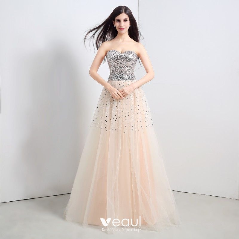 99cb17e6ee Sparkly Champagne Prom Dresses 2018 A-Line   Princess Beading Sequins  Crystal Sweetheart Backless Sleeveless Floor-Length ...