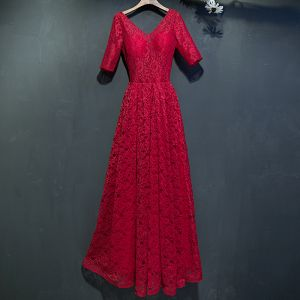 Chic / Beautiful Red Formal Dresses 2017 Lace Flower Backless 1/2 Sleeves V-Neck Ankle Length Empire Evening Dresses