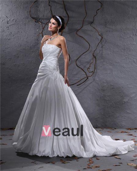 Elegant Taft Plissert Applikasjon Beaded Stroppelos Gulv Lengde Domstol Tog Ball Kjole Brudekjoler Bryllupskjoler