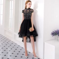 Charming Black Asymmetrical Cocktail Dresses 2019 A-Line / Princess High Neck Lace Flower Rhinestone Bow Cap Sleeves Formal Dresses
