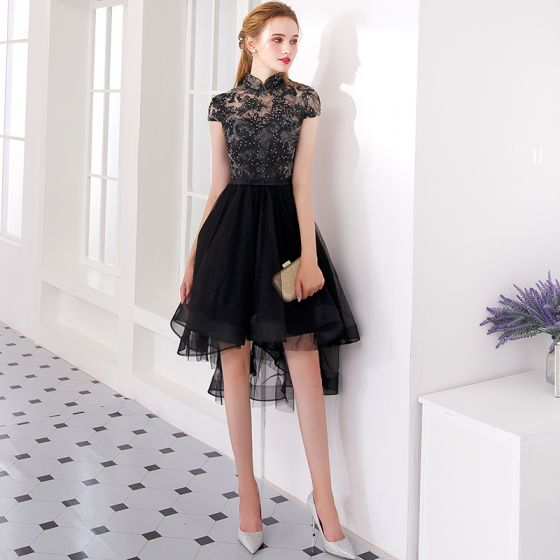 Charming Black Asymmetrical Cocktail Dresses 2019 A-Line / Princess High Neck Lace Flower Rhinestone Bow Cap Sleeves Formal Dresses