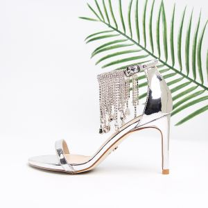 Modern / Fashion Silver Womens Sandals Beach Leather Crystal Tassel Open / Peep Toe High Heels Sandals Cocktail Party Evening Party 9 cm Womens Shoes 2019