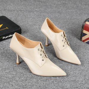 Fine Aprikos Casual Lær Kvinners støvler 2021 8 cm Stiletthæler Spisse Boots