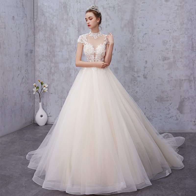 Vintage / Retro Champagne See-through Wedding Dresses 2019 A-Line / Princess High Neck Cap Sleeves Appliques Lace Beading Pearl Court Train Ruffle