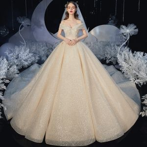 Chic / Beautiful Champagne Bridal Wedding Dresses 2020 Ball Gown Off-The-Shoulder Short Sleeve Backless Beading Glitter Tulle Royal Train